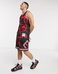 Mitchell And Ness Big Face Chicago Bulls Mesh Shorts In Black
