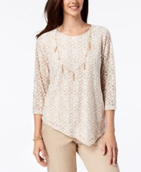 Alfred Dunner La Dolce Vita Asymmetrical Necklace Top Almond
