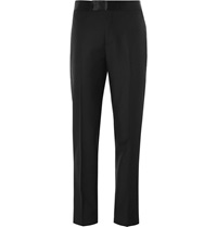Alexander Mcqueen Satin Trimmed Wool And Mohair Blend Trousers Black