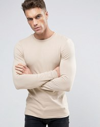 Asos Extreme Muscle Long Sleeve T Shirt In Beige Oxford Tan