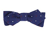 Alexander Olch Dotted Wool Twill Bow Tie Blue