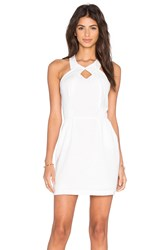 Bobi Black Georgette Keyhole Halter Dress White