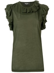 Dsquared2 Frill Trim Sleeveless Top Green