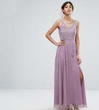 Frock And Frill Cami Maxi Dress With Star Embellishment Split Grey