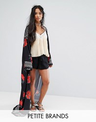 Sisters Of The Tribe Petite Maxi Kimono In Dark Rose Black
