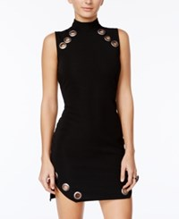As U Wish Juniors' Textured Grommet Trim Bodycon Dress Black