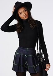 Missguided High Waisted Check Print Shorts Green Green