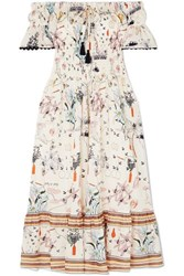 Tory Burch Off The Shoulder Smocked Printed Cotton Voile Dress White