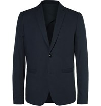 Folk Blue Counter Slim Fit Cotton Pique Blazer Midnight Blue