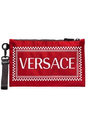 Versace Red Logo Print Pouch Bag