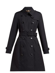 Burberry Chelsea Double Breasted Cotton Trench Coat Navy