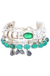 Iosselliani Woman Gold Tone Crystal And Stone Bracelet Silver