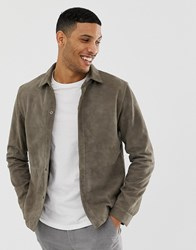 Selected Homme Suede Overshirt Jacket Grey