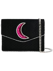Les Petits Joueurs Moon Sequin Embroidered Crossbody Black