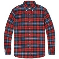 Beams Plus Button Down Twill Check Shirt Red And Blue