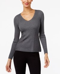 Inc International Concepts Ribbed V Neck Sweater Only At Macy's Medium Heather Grey