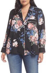 Everleigh Plus Size Piping Detail Pajama Style Top Black Pink Floral