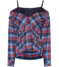 Anna October Off The Shoulder Plaid Top Multicoloured