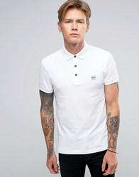 Boss Orange By Hugo Pavlik Logo Polo Stretch Pique White