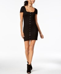 Material Girl Juniors' Metallic Detailed Rib Knit Bodycon Dress Created For Macy's Caviar Black