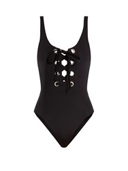 Mara Hoffman Lace Up Swimsuit Black