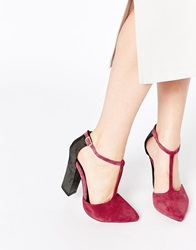 Ravel Block Heel Tbar Leather Heeled Shoes Plum