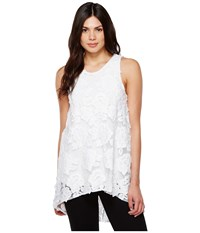 Vince Camuto Sleeveless High Low Hem Floral Mesh Blouse Ultra White Women's Blouse