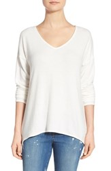 Women's Gibson 'Yummy Fleece' High Low V Neck Pullover Ivory