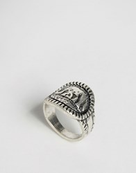Ny Lon Nylon Elephant Engraved Ring Burnished Silver