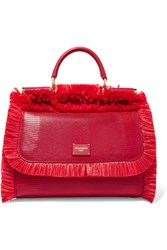 Dolce And Gabbana Sicily Medium Raffia Trimmed Lizard Effect Leather Tote Red