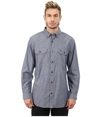 Carhartt Fort Solid L S Shirt Denim Blue Chambray Men's Long Sleeve Button Up Gray