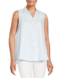 Beach Lunch Lounge Sleeveless Chambray Shirt Dark Blue