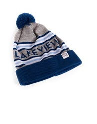 Tuck Shop Co. Lakeview Striped Pompom Beanie Heather Grey