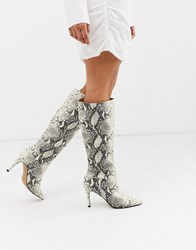 Steve Madden Kinga Knee High Heel Boot In Natural Snake Multi
