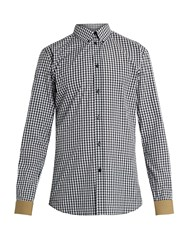 Givenchy Contrast Cuff Checked Cotton Shirt Multi