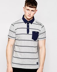 Brave Soul Stripe Polo Shirt Grey