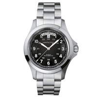 Hamilton H64455133 Men's Khaki Field King Automatic Day Date Bracelet Strap Watch Silver Black