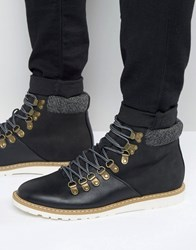 New Look Lace Up Hiker Boots In Black Black