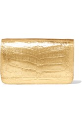 Nancy Gonzalez Metallic Crocodile Clutch Gold