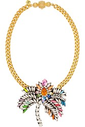 Shourouk Palm Tree Gold Tone Crystal Necklace Metallic