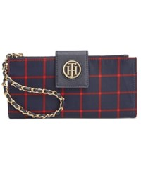 Tommy Hilfiger Plaid Nylon Chain Wristlet Wallet Navy Red