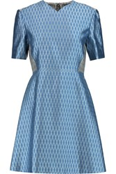 Jonathan Saunders Joanna Silk And Wool Blend Jacquard Dress Blue