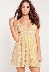 Missguided Strappy Crochet Lace Skater Dress Yellow