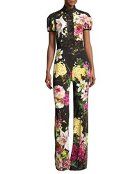 Naeem Khan Short Sleeve Mock Neck Floral Jumpsuit Black Pattern