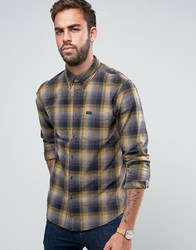Lee Button Down Check Shirt Regular Fit Stitch Detail Mustard Gold Yellow