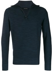 Emporio Armani Zip Up Jumper Blue
