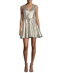 Alice Olivia Varita Metallic Cutout Fit And Flare Party Dress Multi
