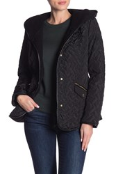 Cole Haan Quilted Hooded Jacket Black