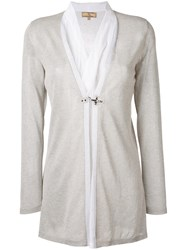 Fay Layered Semi Sheer Cardigan Women Silk Cotton Polyester Viscose S Grey