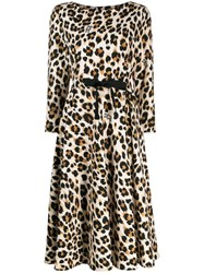 Boutique Moschino Leopard Print Midi Dress Brown